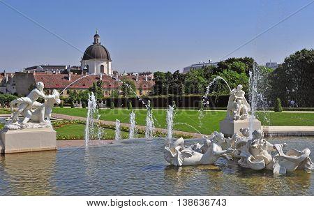 Belvedere garden in Vienna city centre, Austria