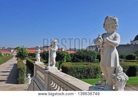 Statues of summer months in Belvedere complex Vienna