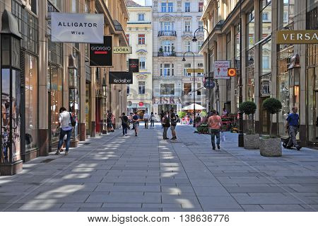 VIENNA AUSTRIA - JUNE 6: View of the shopping street in downtown of Vienna on June 6 2016. Vienna is the capital and largest city of Austria.