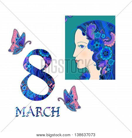 Greeting card design for International woman's day. Doodle drawing of beautiful woman and butterflies on white background. Vector illustration.