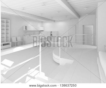 3D Interior Rendering Of A Tiny Loft