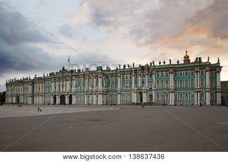 Winter Palace. Palace Square on a summer evening at sunset. The museum