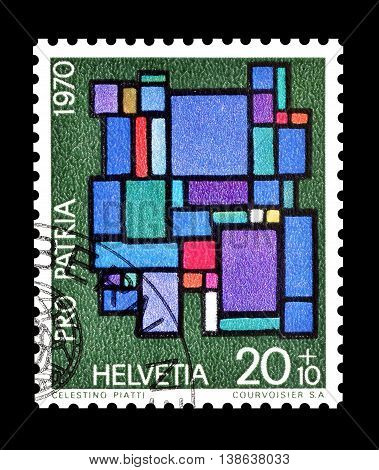 SWITZERLAND - CIRCA 1970 : Cancelled postage stamp printed by Switzerland, that shows Architectonic composition by Celestino Piatti.