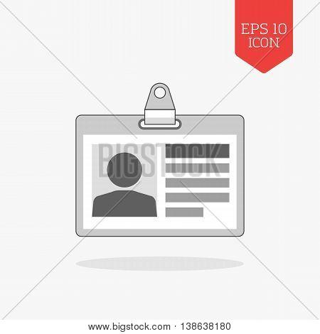 Identification Card Icon. Flat Design Gray Color Symbol. Modern Ui Web Navigation, Sign.