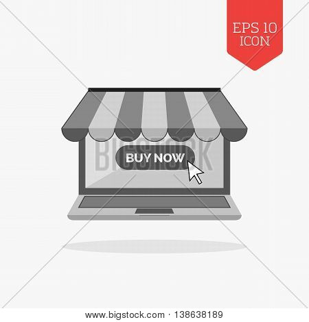 Laptop With Awning Icon, Online Shopping Concept. Flat Design Gray Color Symbol. Modern Ui Web Navig
