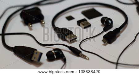 Data transfer connection devices studio isolated stock photo