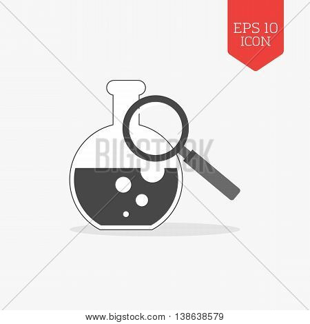 Flask And Magnifying Glass Icon, Research Lab Concept. Flat Design Gray Color Symbol. Modern Ui Web