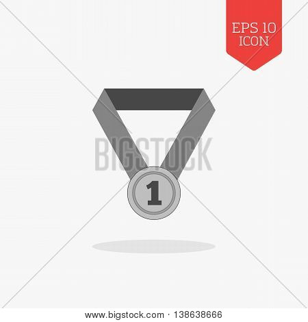 First Place Medal Icon. Flat Design Gray Color Symbol. Modern Ui Web Navigation, Sign.
