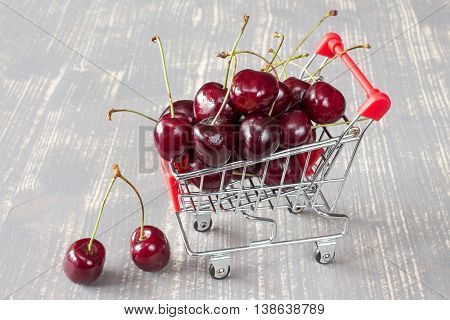 Shopping Cart With Cherries