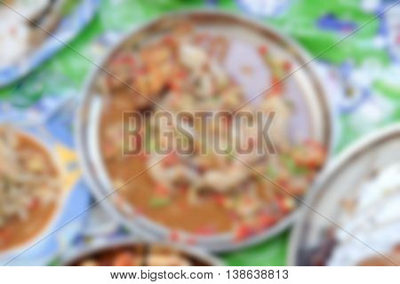 Blurred abstract background of Papaya Salad (Som tum)