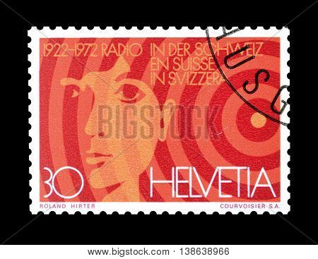 SWITZERLAND - CIRCA 1972 : Cancelled postage stamp printed by Switzerland, that shows Acoustic sound waves and face.