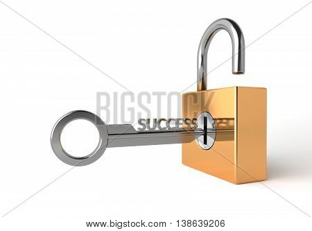 3D Illustration The key of success with Padlock