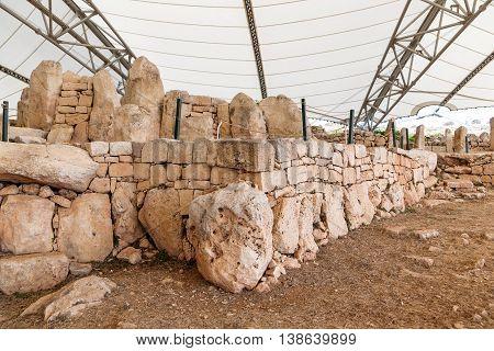 Mnajdra Temple within Hagar Qim megalithic complex. Qrendi Malta. UNESCO World Heritage Site.
