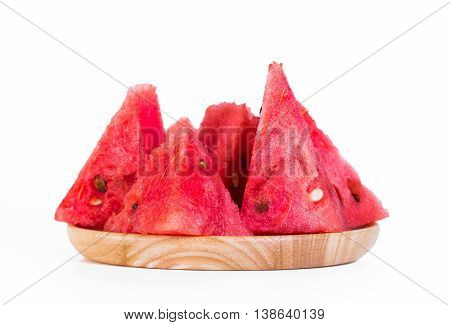 Watermelon red flesh cut into pieces on a white background.