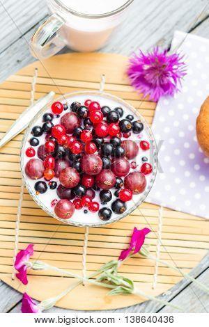 Breakfast Garden Fruits Currants Gooseberries Buttermilk