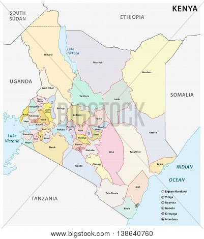 vector administrative and political map of the Republic of Kenya