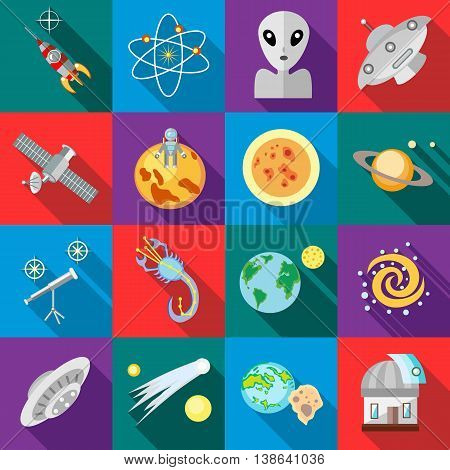 Space icons in flat style. Astronomy set collection vector illustration
