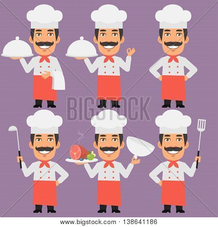 Vector Illustration, Chef Holding Tray and Smiling, Format EPS 8