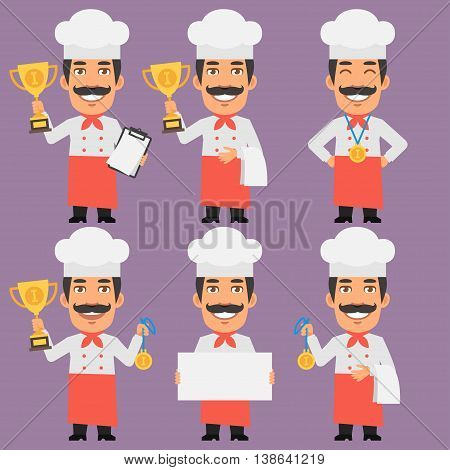 Vector Illustration, Chef Holds Cup and Medal, Format EPS 8