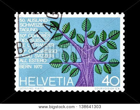SWITZERLAND - CIRCA 1972 : Cancelled postage stamp printed by Switzerland, that shows Tree.