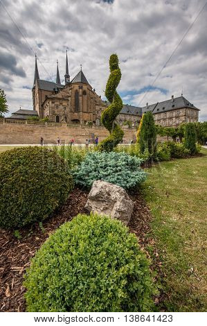 Inside the garden of St. Michael Church in Bamberg