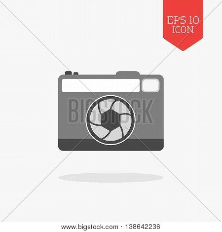 Photo Camera Icon. Flat Design Gray Color Symbol. Modern Ui Web Navigation, Sign.