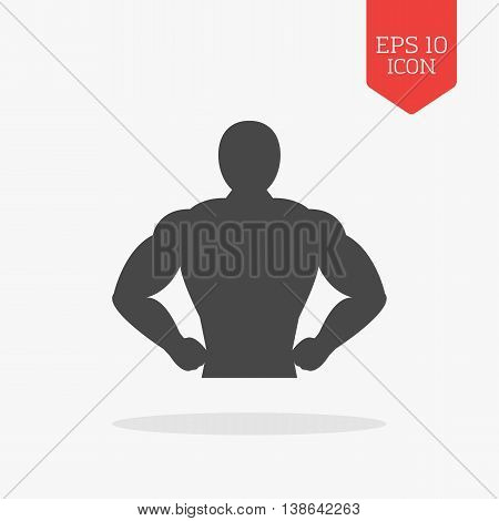 Muscle Body Icon. Bodybuilding Concept. Flat Design Gray Color Symbol. Modern Ui Web Navigation, Sig