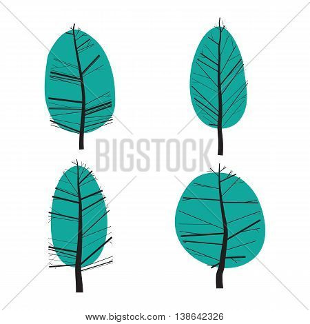 Simple set of ornamental trees. Isolated on white background