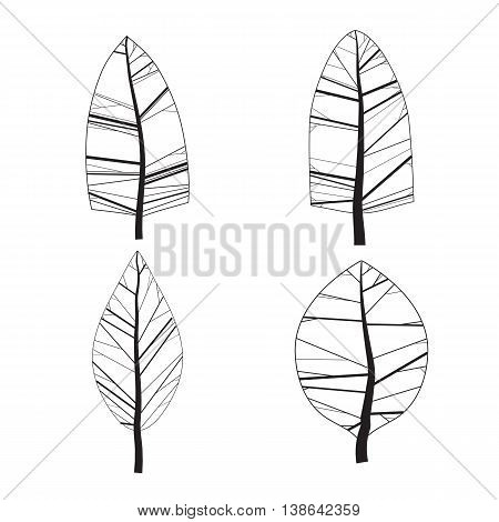 Set of abstract vector stylized illustration of spring trees