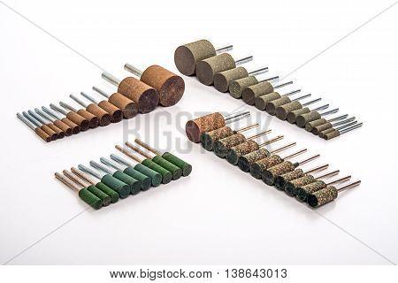 Grinding and polishing stone drill bit set photo on white background