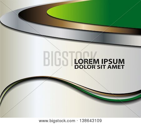 Green vector Template Abstract background with curves lines and shadow. For flyer, brochure, booklet and websites design