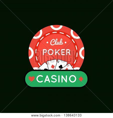 Vector illustration of Casino, Poker chip design with ace .