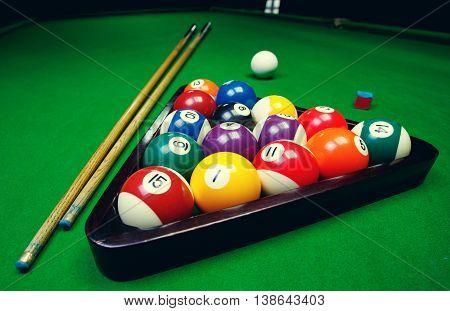 Billiard balls pool on green table, game