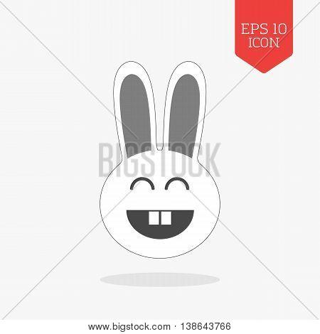 Happy Rabbit Icon. Flat Design Gray Color Symbol. Modern Ui Web Navigation, Sign.