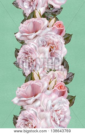 Vertical floral border. Pattern seamless. Flower garland bouquet of pink and lilac roses.