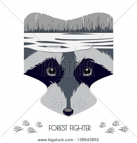 Vector cartoon raccoon head. Forest Fighter. Animal illustration