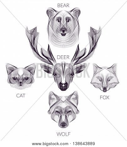 Hipster vector template set. Wild animals illustration for posters greeting cards flyers banner web designs.