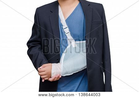 businessman with his broken left arm over white