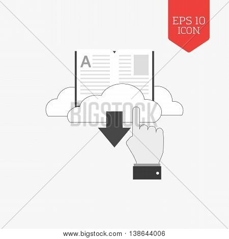 Download E-book Icon. Flat Design Gray Color Symbol. Modern Ui Web Navigation, Sign.