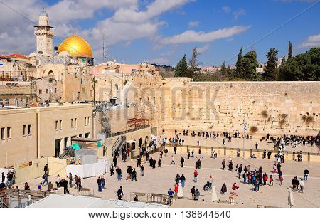 JERUSALEM, ISRAEL - MARCH 22:   The square full of people on March 22, 2015 at the Western wall  in Old Jerusalem city.