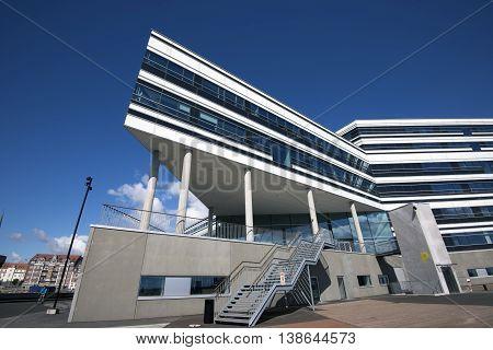 AARHUS DENMARK - JULY 13 2016: Modern architecture on Aarhus Dockland - Aarhus will be European capital of culture in 2017. July 13 2016