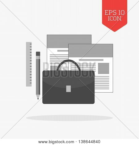 Portfolio Concept Icon. Flat Design Gray Color Symbol. Modern Ui Web Navigation, Sign.
