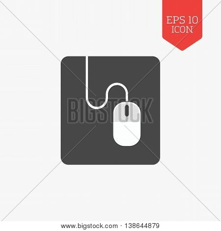 Mouse On Mouse Pad Icon. Flat Design Gray Color Symbol. Modern Ui Web Navigation, Sign.