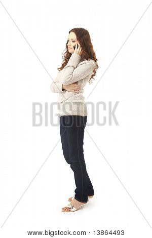 woman on phone isolated on white background