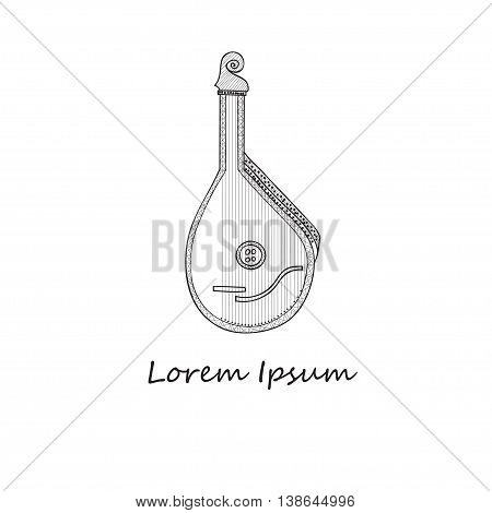 Composition with cute hand drawn pandora. Music hand drawn vector collection
