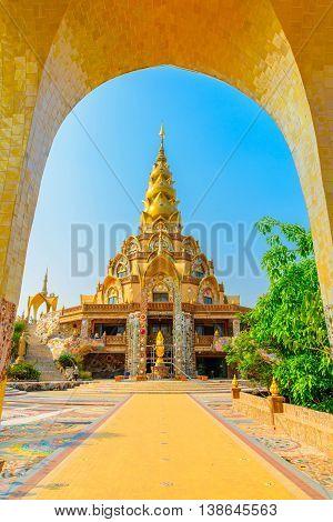 The pagoda in Wat Phra That Pha Son Kaew Temple at Phetchabun province, Thailand.