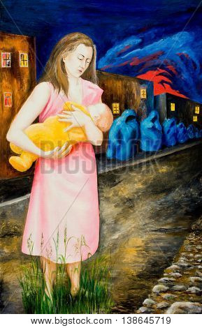 An allegory of the troubles and dangers. The mother was holding a sleeping child. Oil painting.