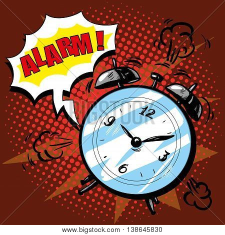 Alarm clock rings to wake up in the morning. Vector illustration in retro comic pop art style. Alarm text bubble. Good morning concept.