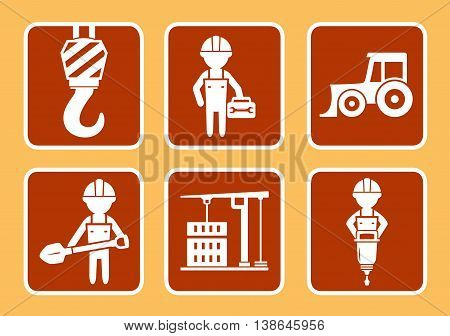 set icons with builder with construction equipment