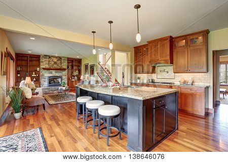 Small Kitchen Area With Open Floor Plan, View Of Living Room